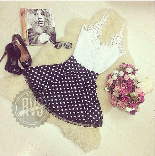 kit mini saia gode rodada cores +linda blusa  renda guipir