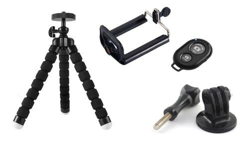 kit mini tripie cámara de acción gopro + disparador celular