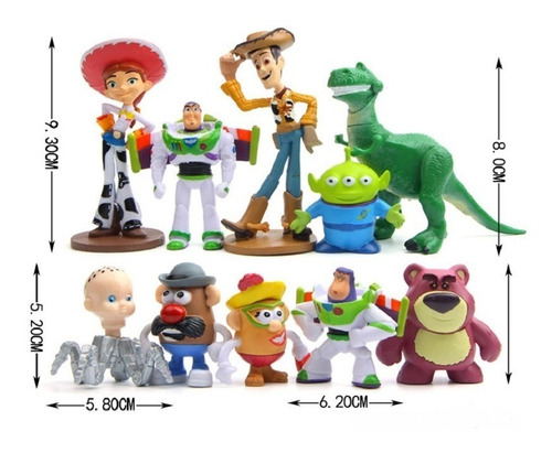 kit miniaturas 10 personagens toy story sr. batata buzz wood