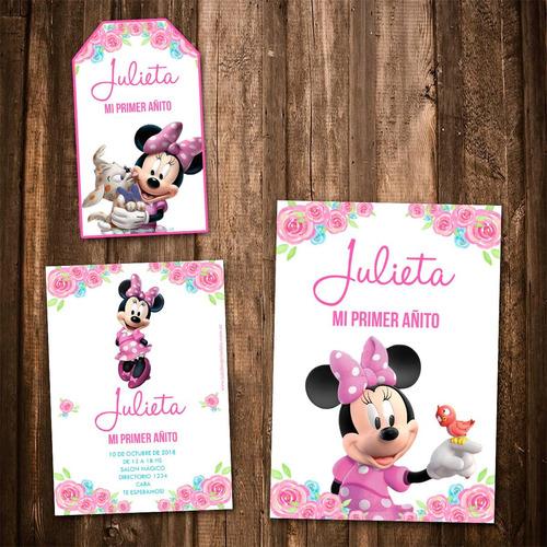 kit minnie rosa invitaciones, stickers, banderín impreso