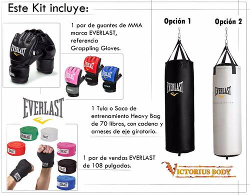 kit mma tula boxeo 70 lb + guantes mma + vendas everlast 108