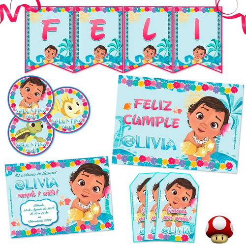 kit moana bebé candy bar completo impreso! invitaciones