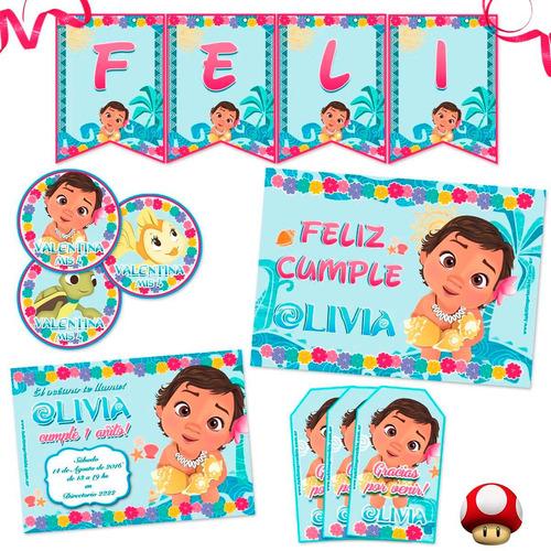 kit moana bebé impreso invitaciones, stickers, banderín