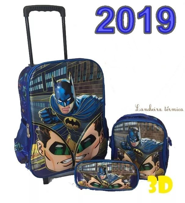 b1c346b11 Kit Mochila 3d Batman Rodinha Infantil Escolar Lancheira Top - R ...