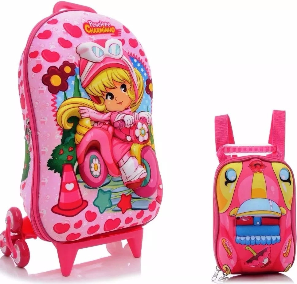 ea822d8142 kit mochila 3d + lancheira penelope charminho infantil. Carregando zoom.