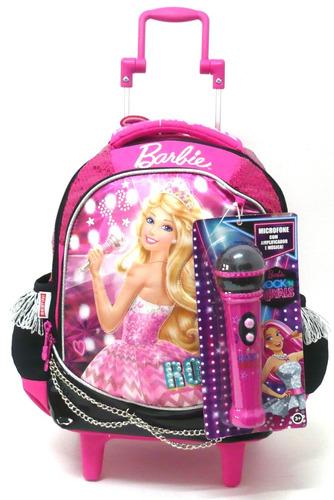 kit mochila barbie rock royals microfone m rodinhas sestini