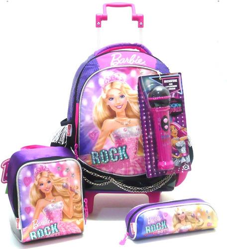kit mochila barbie rock royals microfone tam m rodinhas roxa