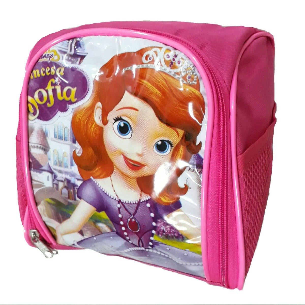 27660d36bb kit mochila bolsa escolar com rodinhas sofia + lancheira. Carregando zoom.