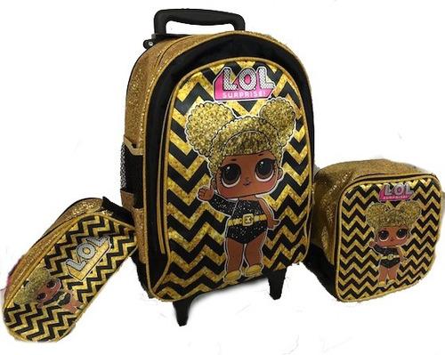 kit mochila bolsa infantil escolar lol dourada queen bee