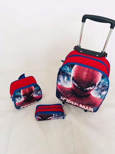 kit mochila carrinho homem aranha herois rodinha 2018