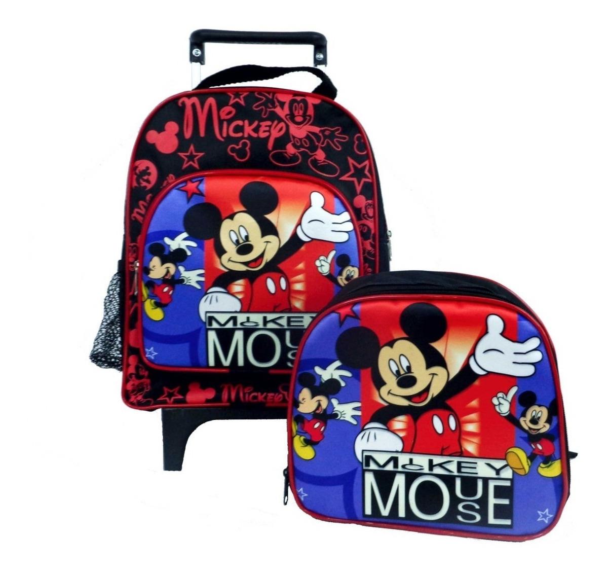 b5ace413ea1a77 Kit Mochila Carrinho Pequena Lancheira Estojo Mickey - R$ 109,90 em ...