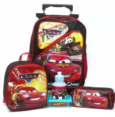 kit mochila carros relâmpago mcqueen 2 bolsos rodinhas f1