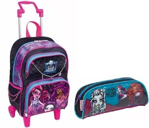 kit mochila de rodinha + estojo  m monster high - sestini