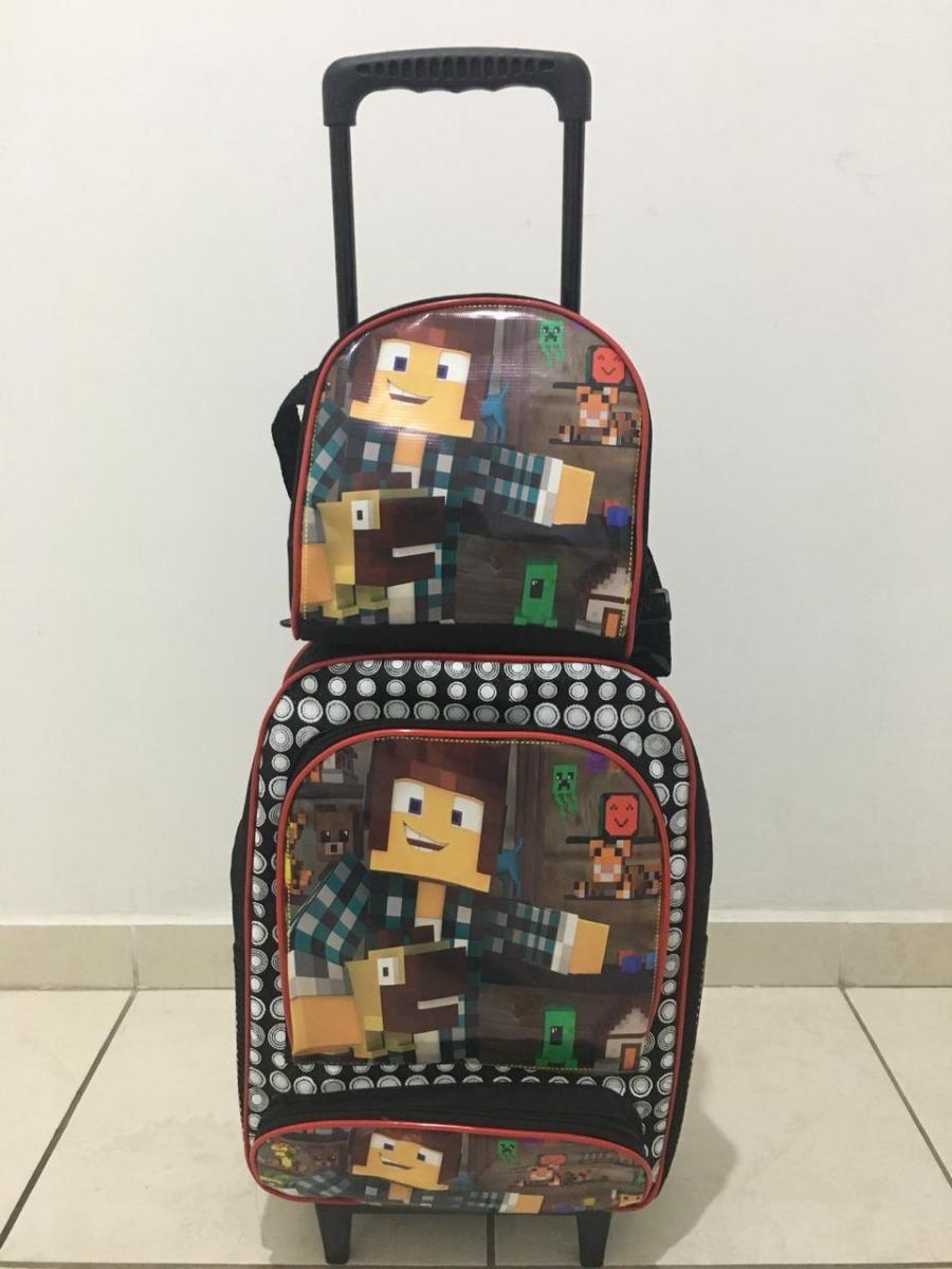 8c4c4ae0c kit mochila de rodinha minecraft escolar infantil oferta. Carregando zoom.