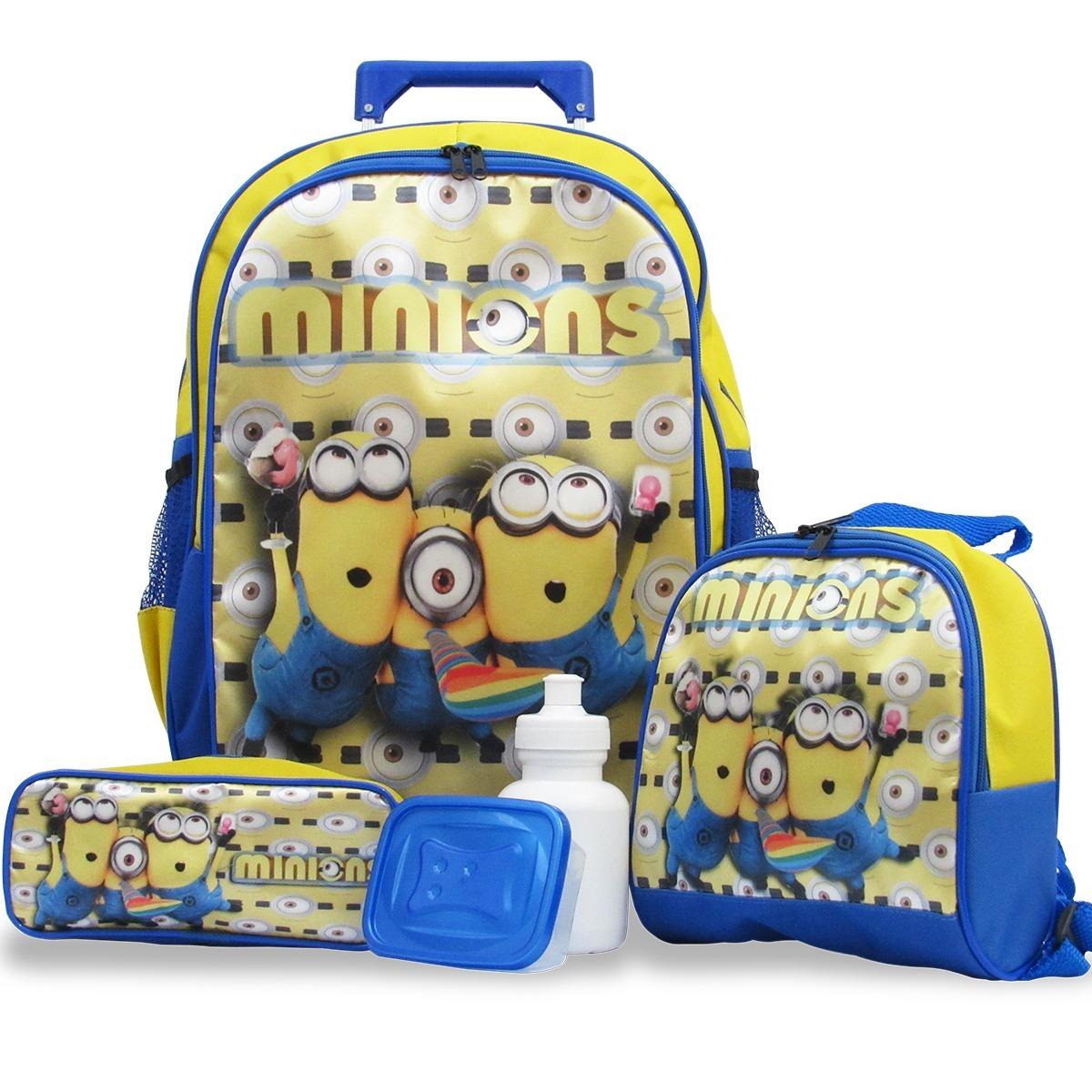 bdf06d8e0f kit mochila de rodinhas minions + lancheira e estojo. Carregando zoom.