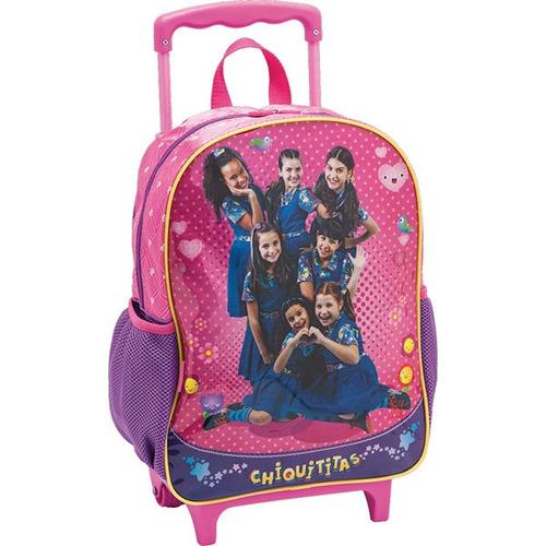 kit mochila e lancheira térmica chiquititas infantil rosa