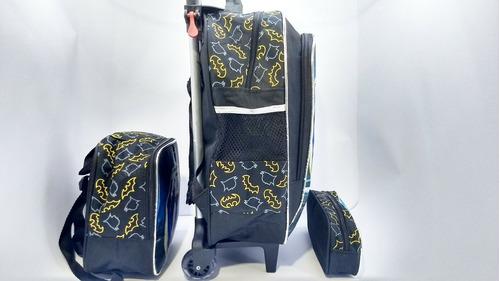 kit  mochila escolar batman heróis rodinhas lancheira