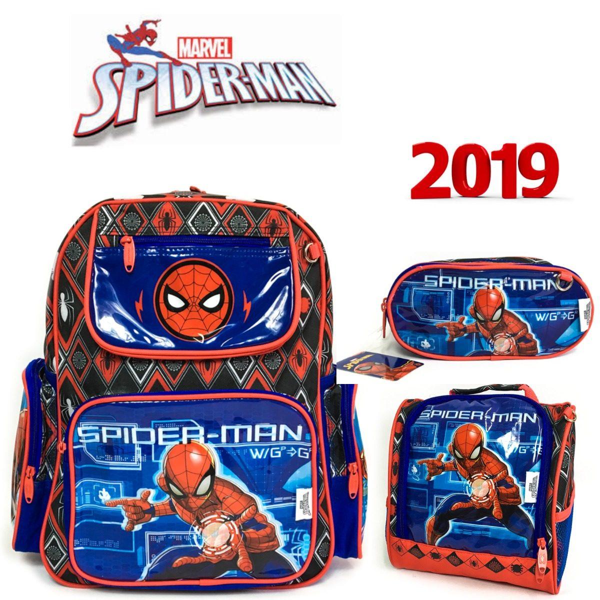 000ae8bf1 kit mochila escolar costas homem aranha lancheira estojo. Carregando zoom.