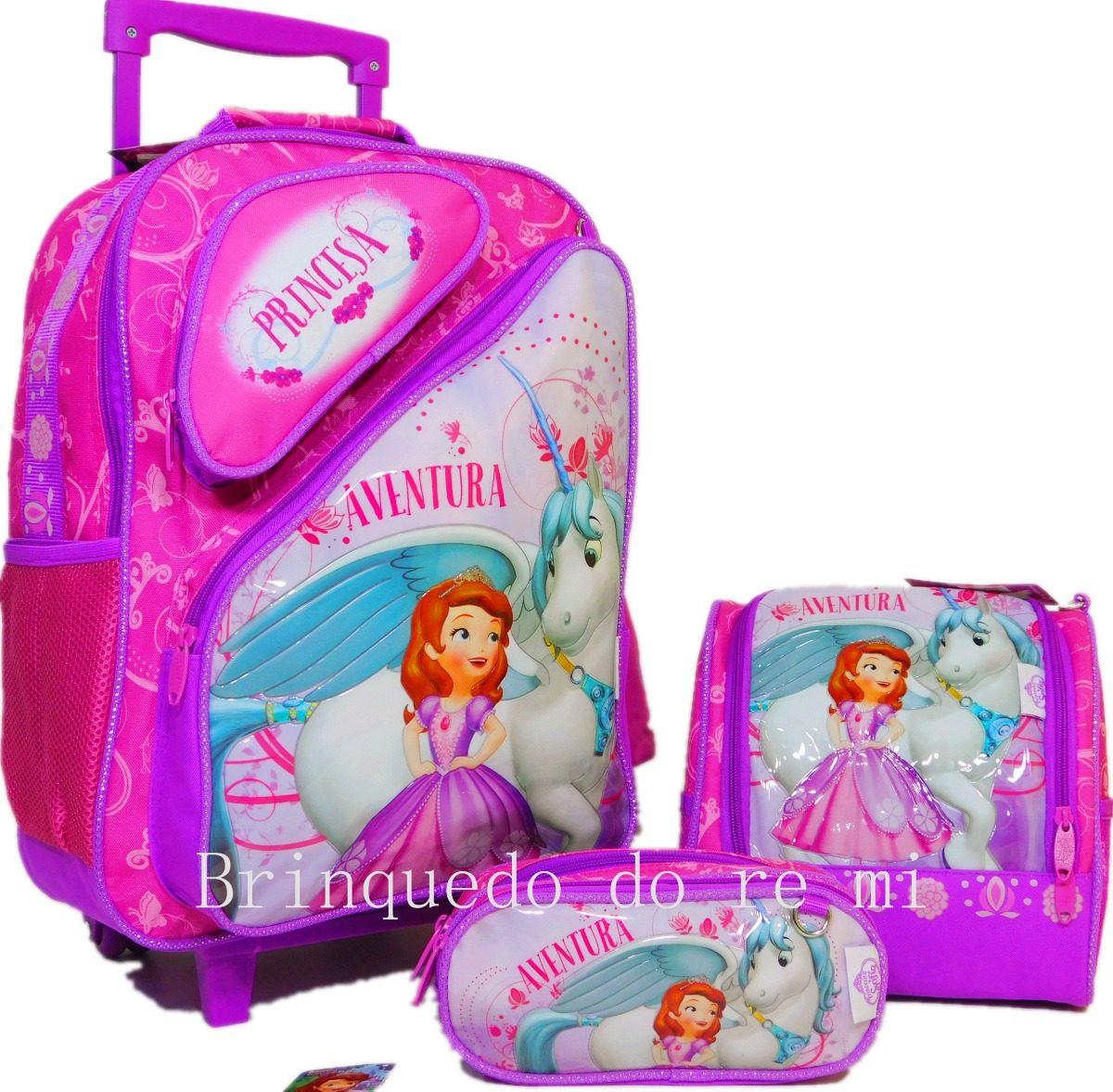 1ac7d538cf kit mochila escolar de rodinhas princesa sofia g 2019. Carregando zoom.