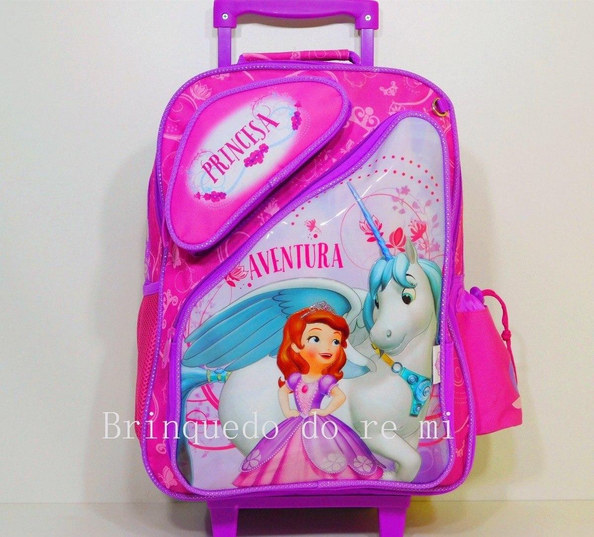 cdcb483880 kit mochila escolar de rodinhas princesa sofia g. Carregando zoom.