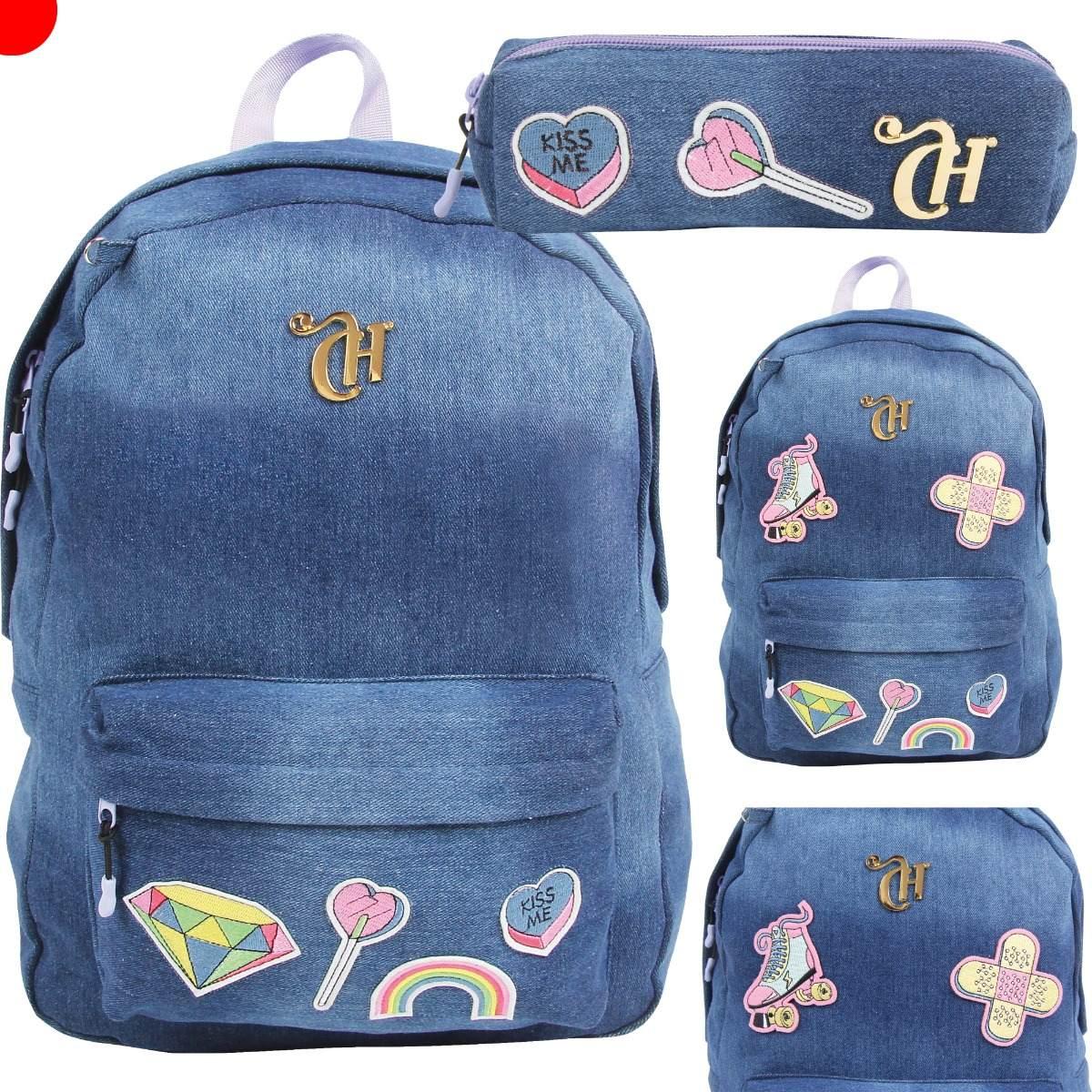 Bolsa Escolar Feminina Tilibra : Kit mochila escolar estojo capricho patches dermiwil