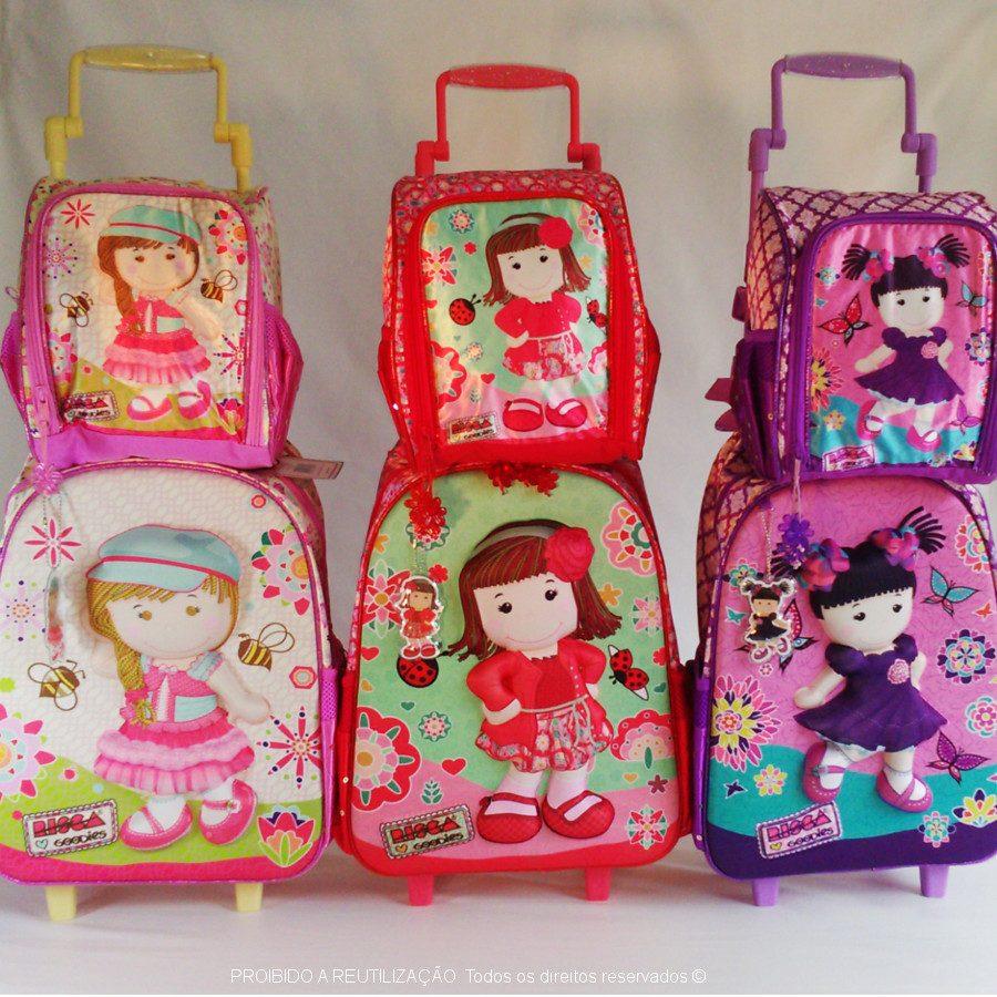 b56b553bc kit mochila escolar feminina infantil 3d risca + lancheira. Carregando zoom.