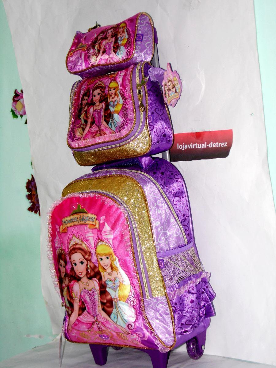 c9e1cf4f9 kit mochila escolar feminina rodinhas 3 princesas até 7 anos. Carregando  zoom.