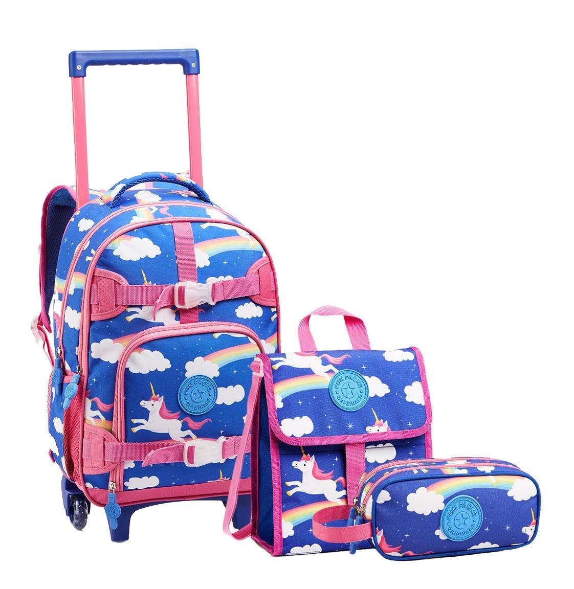 25fe7777f kit mochila escolar infantil com rodas kt13881 unicórnio. Carregando zoom.