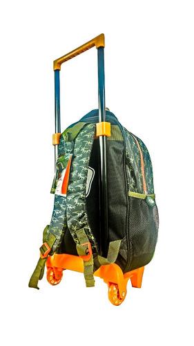 kit mochila escolar infantil dinossauro com rodinhas novo