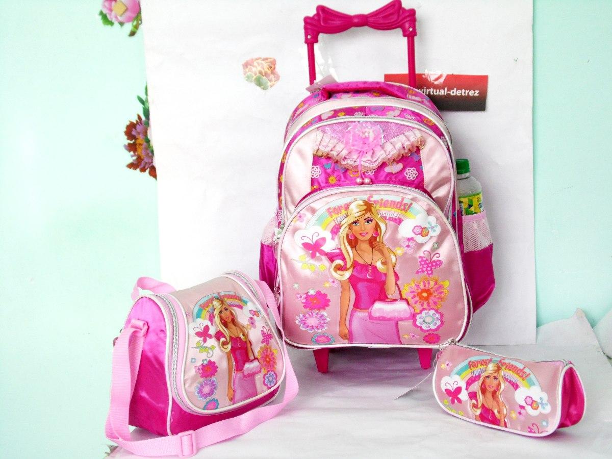kit mochila escolar infantil feminina com rodinhas   r