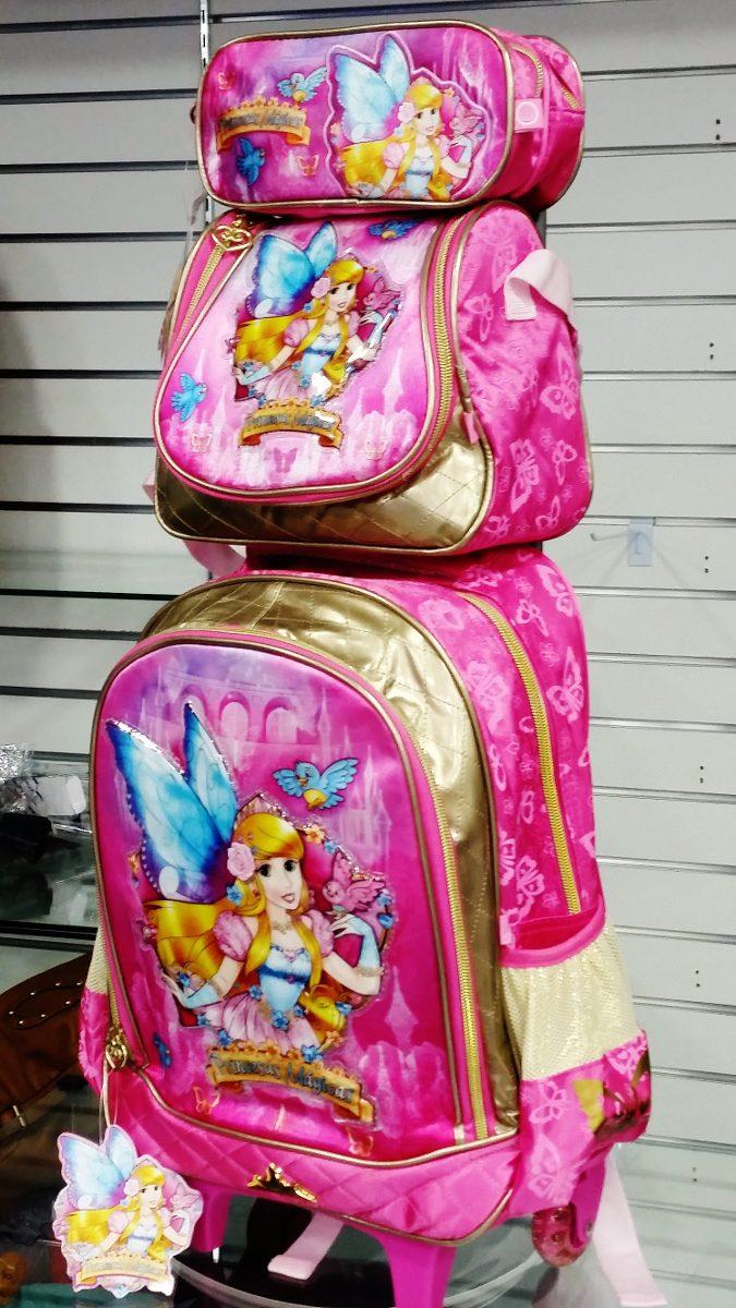 b4799f0b7 kit mochila escolar infantil feminina com rodinhas princesas. Carregando  zoom.