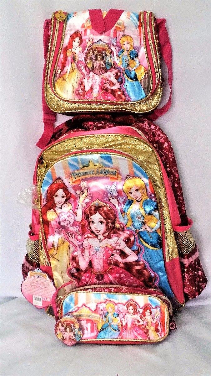 863fcc732 kit mochila escolar infantil feminina de costa as 3 princesa. Carregando  zoom.