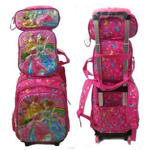 0d4688f57 Kit Mochila Escolar Infantil Feminina Princesas C/rodinhas - R$ 199 ...