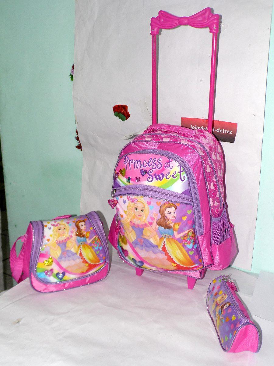 Bolsa Escolar Infantil Feminina Mercado Livre : Kit mochila escolar infantil princesas com rodinhas r