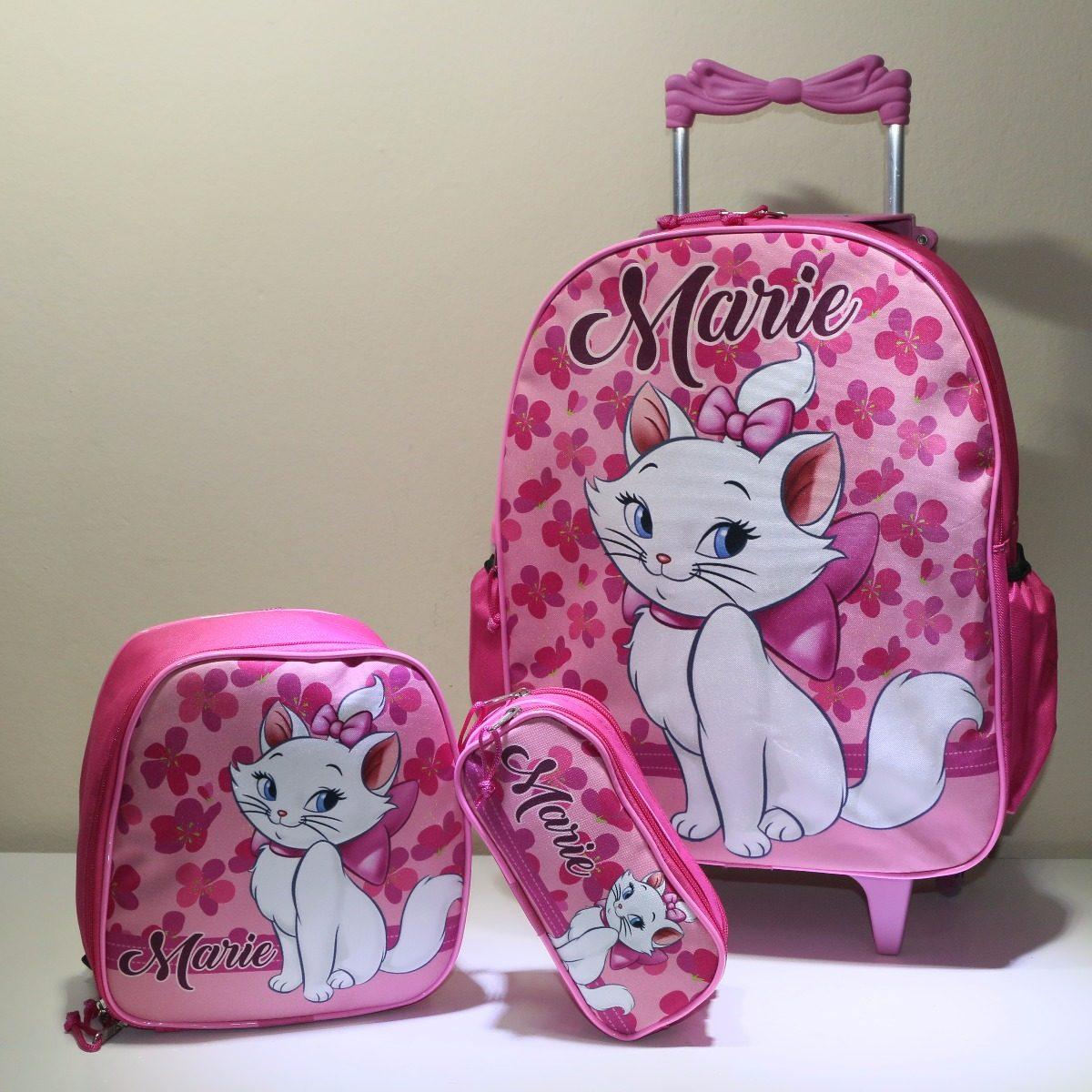 126e9d865 kit mochila escolar infantil rodinha gata marie - promoção. Carregando zoom.