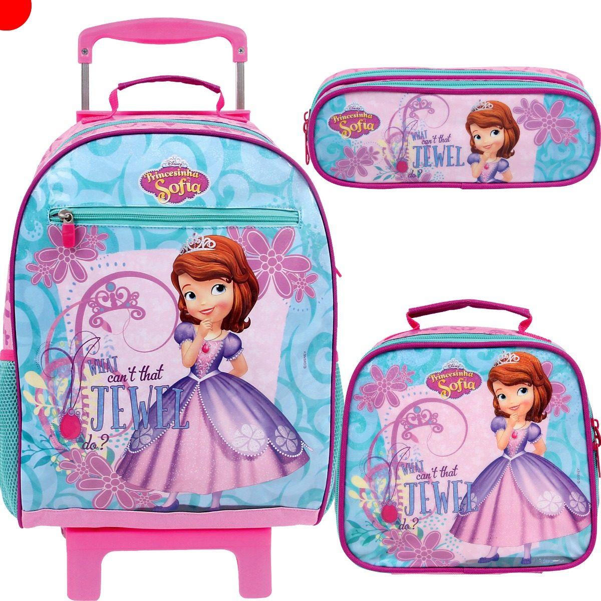 027b2c58a6 kit mochila escolar lancheira estojo princesa sofia dermiwil. Carregando  zoom.