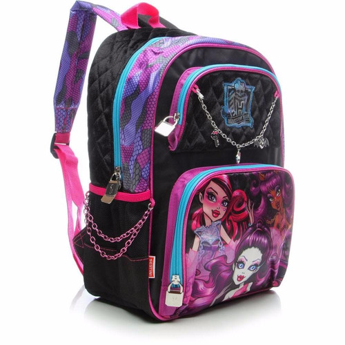 kit mochila escolar monster high 16y pulseira costas sestini