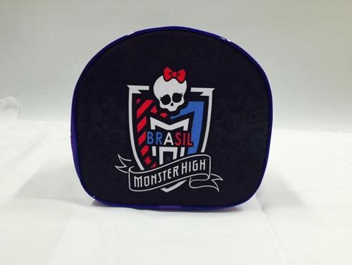 kit mochila escolar rodinhas monster high + lancheira-estojo