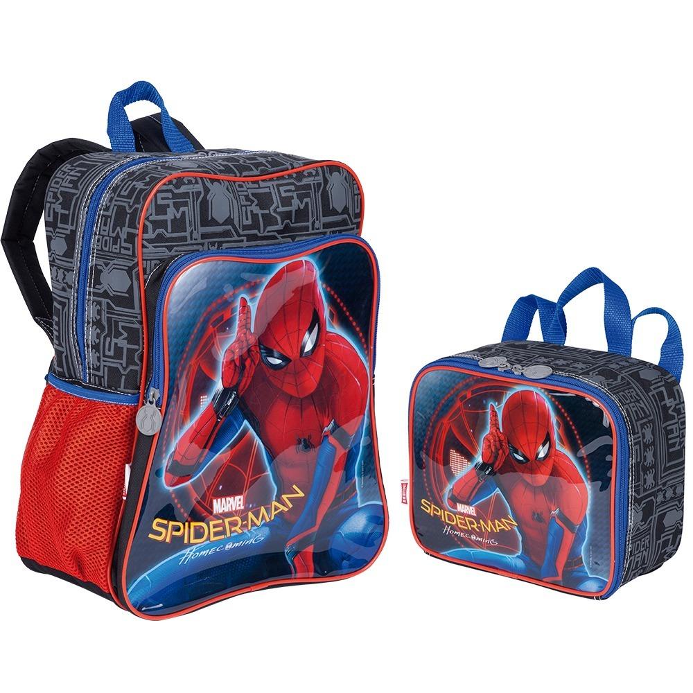 27e5902f76 kit mochila homem aranha costas + lancheira 18m plus sestini. Carregando  zoom.