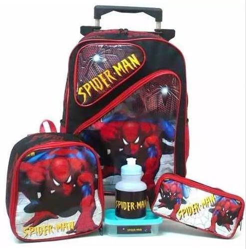 kit mochila homem aranha tam g 2 bolso rodinhas lancheira f1
