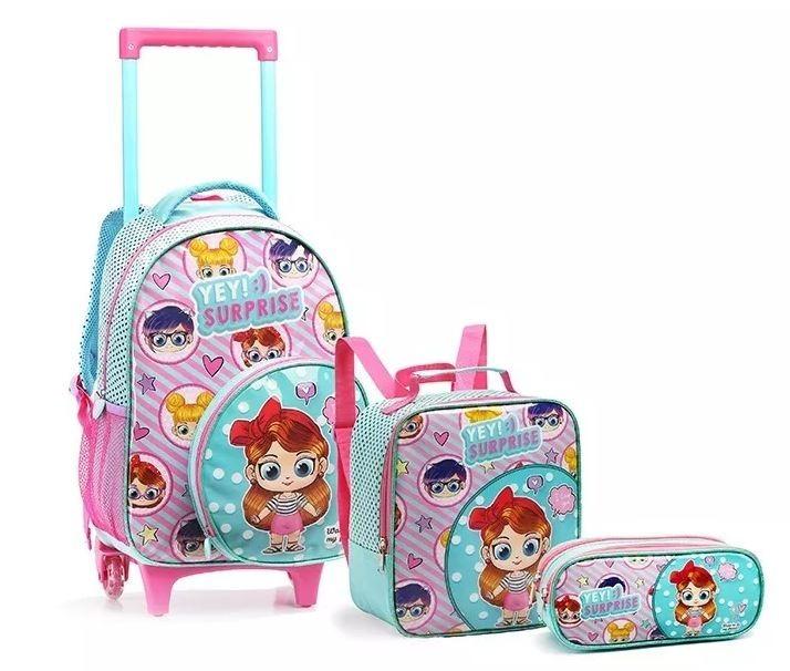 824b8cd7c Kit Mochila Infantil 2019 Escolar Feminina De Com Rodinhas - R  255 ...