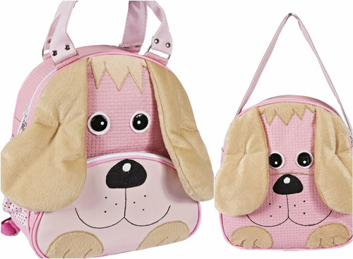 kit mochila infantil cachorro rosa p + g - menina - bebê