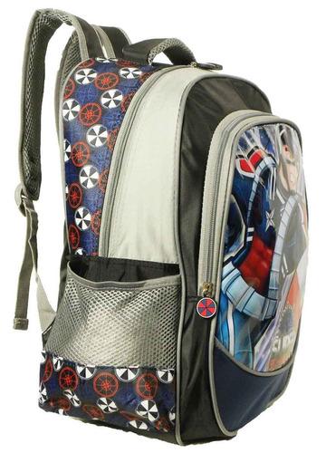 kit mochila infantil costas capitão américa grande + estojo