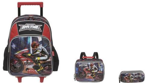 kit mochila infantil escolar 3d carrinho rodinha original