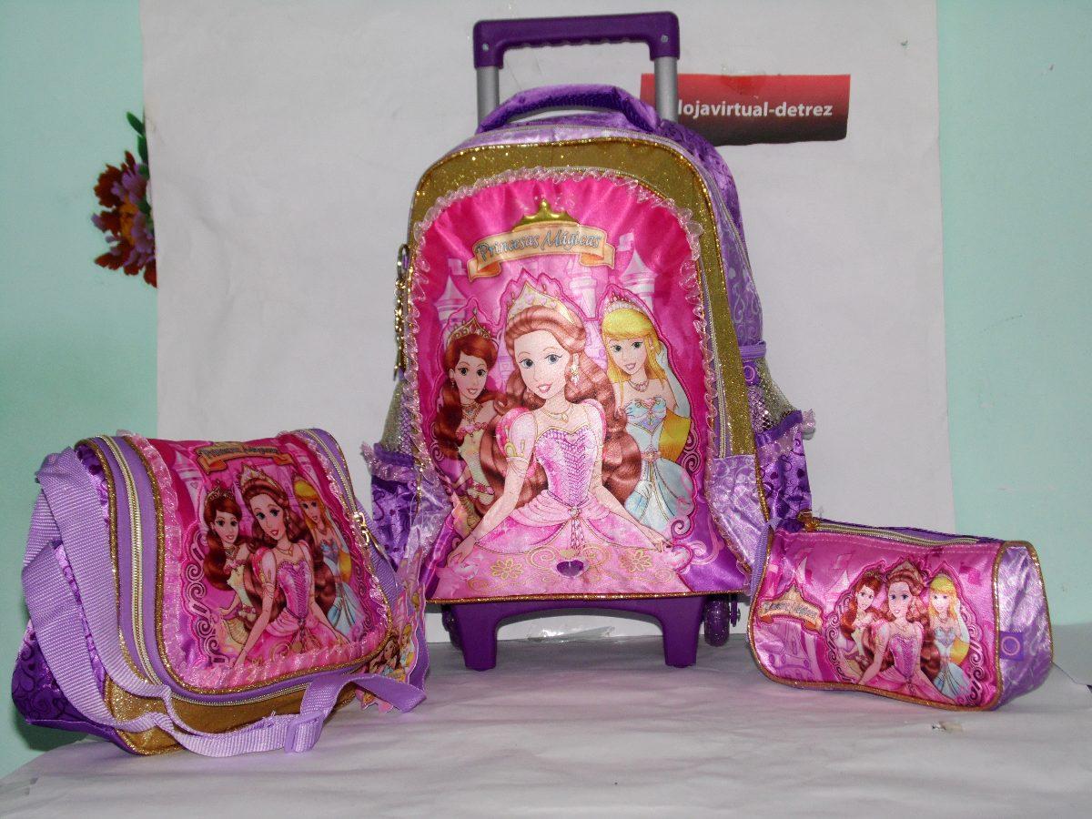 19c991e75 kit mochila infantil escolar feminina c/ rodinhas princesas. Carregando  zoom.