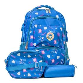 Kit Mochila Infantil Escolar Lancheira Estojo Azul Menina