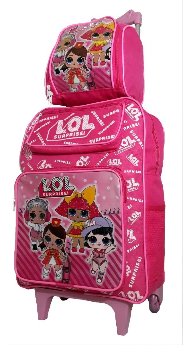 addd72ae2 kit mochila infantil lol grande rodinhas lancheira oferta. Carregando zoom.