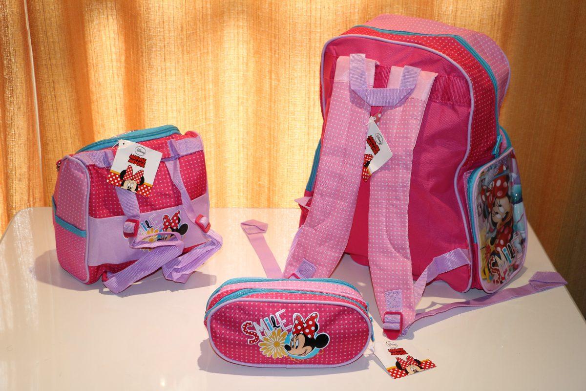 kit mochila infantil minnie costas lancheira estojo