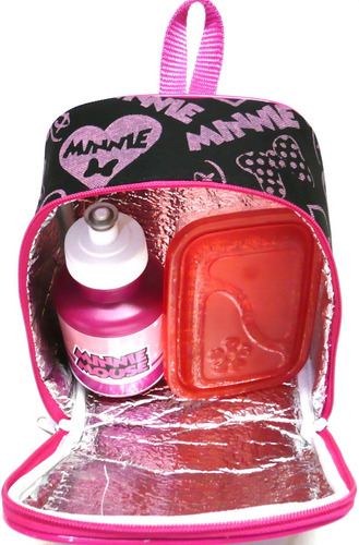 kit mochila infantil minnie mouse lisa g + lancheira f1