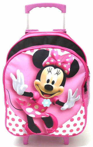 kit mochila infantil minnie mouse rosa rodinha m + lancheira